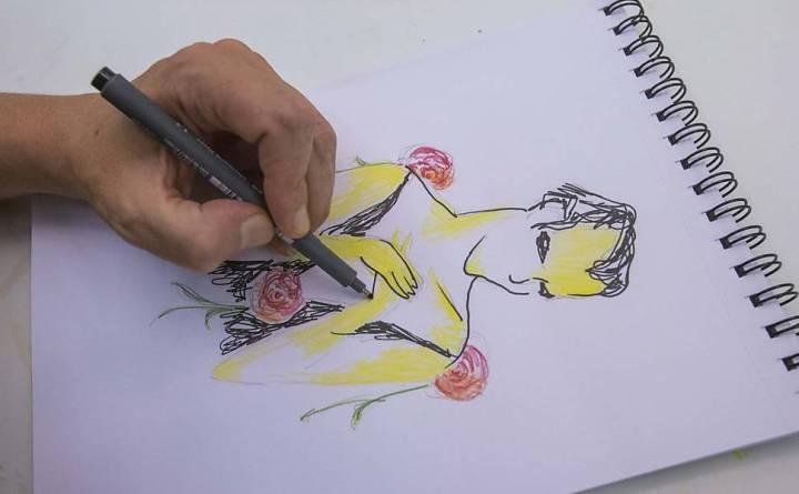 Desenho feito por Matheus Nachtergaele mostra seu personagem no espetáculo