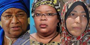 """2011 - O prêmio foi para as liberianas Ellen Johnson-Sirleaf, presidenta do país africano, Leymah Gbowee, ativista pelos direitos das mulheres africanas, e a opositora iemenita Tawakel Karman. Após a decisão, o primeiro-ministro da Noruega declarou: """"Este prêmio é uma homenagem a todas as mulheres do mundo e seu papel nos processos de paz e reconciliação"""""""