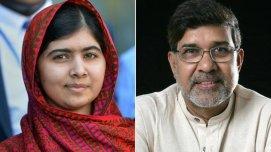 """A paquistanesa Malala Yousafzai, a garota que foi atingida por um tiro na cabeça dos talibãs em 2012 por defender a educação das mulheres, e o ativista indiano Kailash Satyarthi foram premiados """"pela luta contra a opressão de crianças e jovens e pelo direito de todas as crianças à educação""""."""