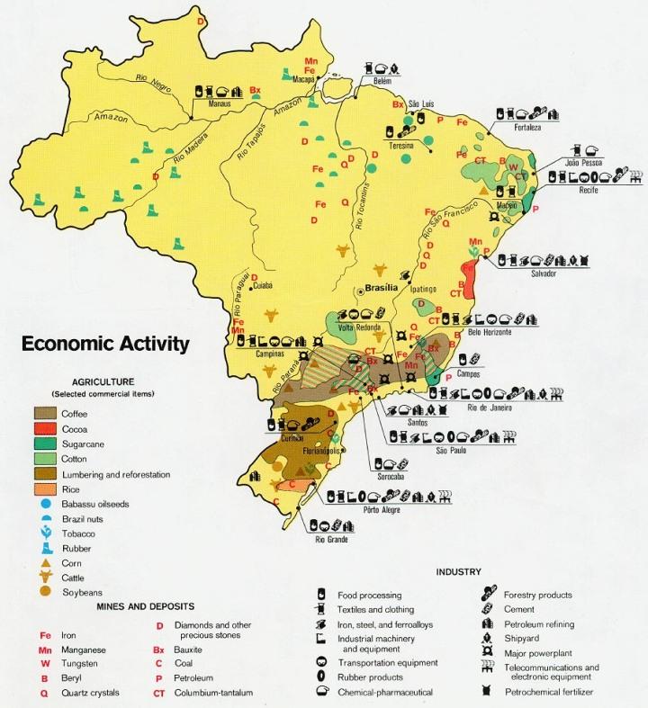 Mapa econômico do Brasil em 1977