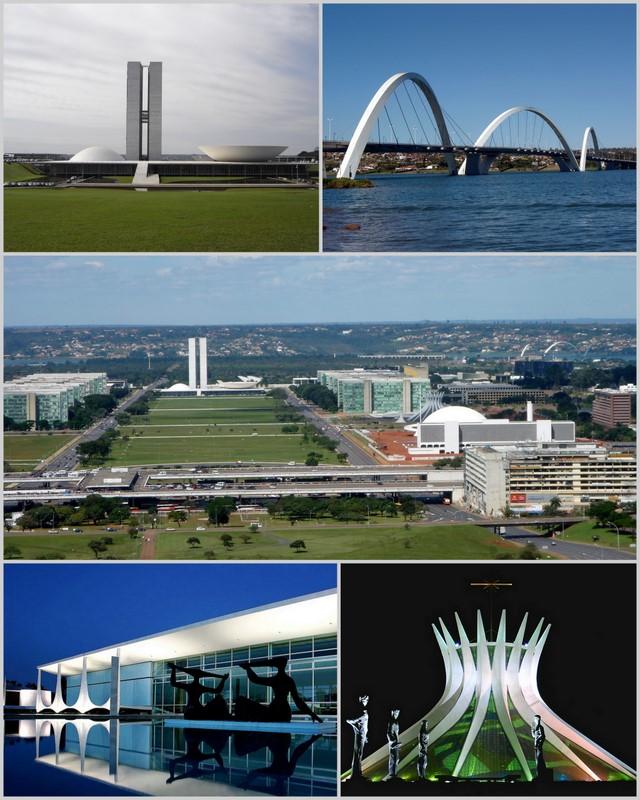 Fotomontagem de locais da cidade de Brasilia, capital do Brasil.