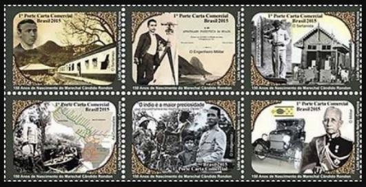 5 de Maio - Sextilha de seis selos em homenagem aos 150 anos de nascimento do Marechal Cândido Mariano da Silva Rondon. Imagem - Acervo Joficur.