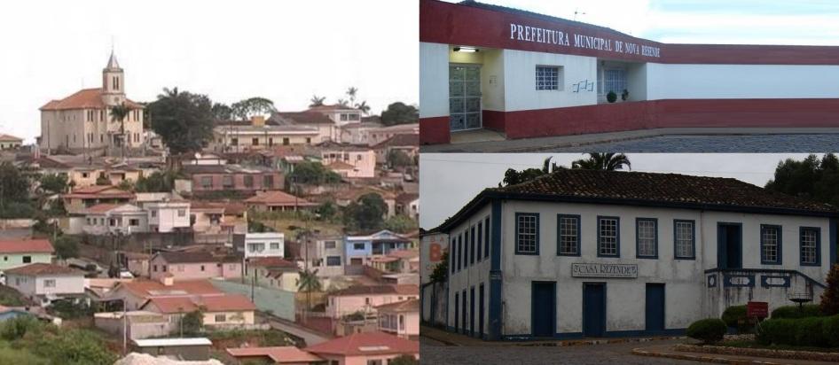 10 de Setembro – Fotomontagem com vista panorâmica da Igreja Matriz, Prefeitura e Casa Rezende — Nova Resende (MG) — 92 Anos em 2017.