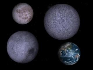 21 de Abril - Possível tamanho dos planetas do sistema PSR B1257+12 comparados com a Terra. Qualquer um dos planetas tem um raio muito superior à da própria estrela, que ronda os 15km