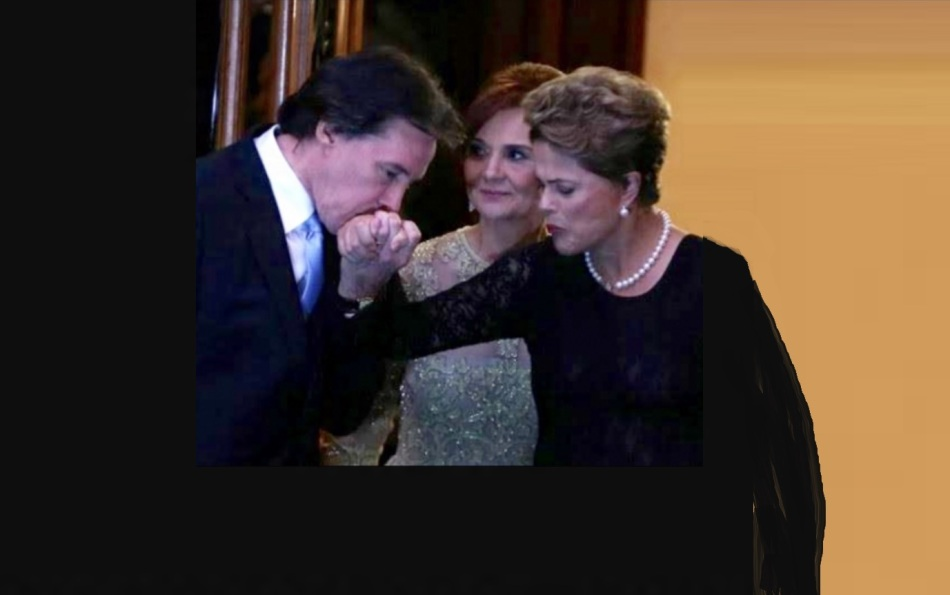 No casamento da filha - os pais da noiva, Mônica e senador Eunício Oliveira, cumprimentando a presidenta Dilma.