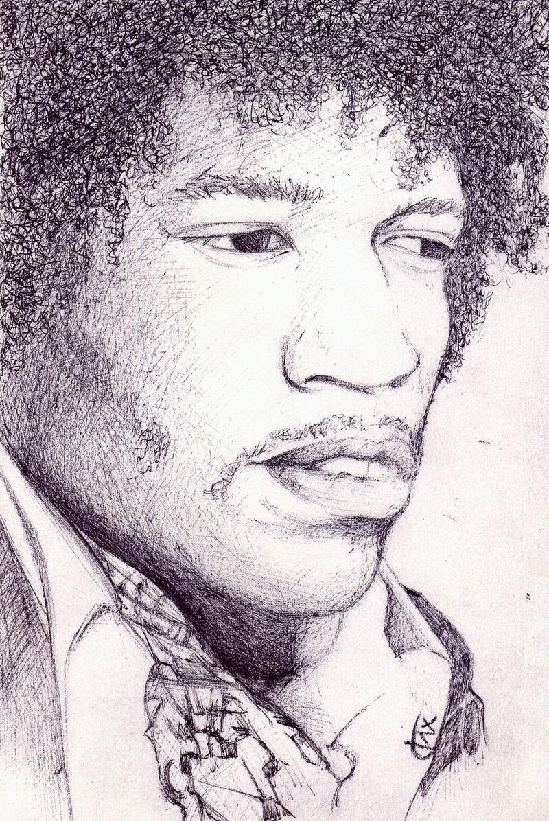 Desenho retratando Jimi Hendrix