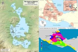 7 de Julho – (Esq.) O Vale do México na época da conquista espanhola (1519). (Dir. acima) Mapa do império e as áreas conquistadas por cada governante asteca. (Dir. à baixo) A exte