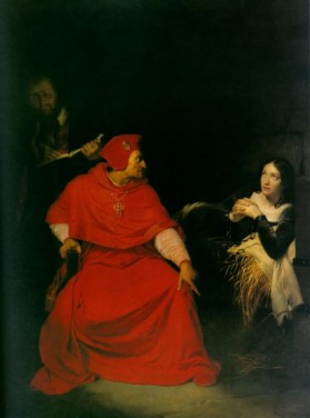Jeanne d'Arc est interrogée par le cardinal de Winchester dans sa prison (1824)