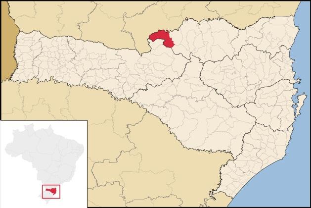 5 de Setembro – Mapa de localização — Porto União (SC) — 100 Anos em 2017.