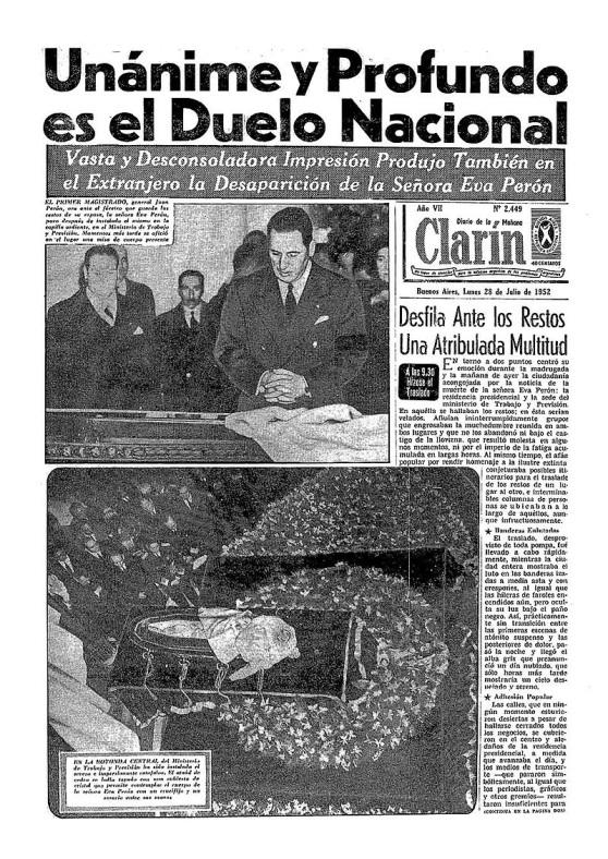 7 de Maio - Funeral de Eva Perón no jornal 'O Clarin'.