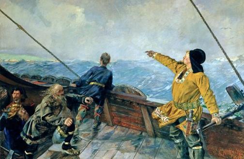 9 de Outubro - 1000 — Descobrimento da América pelos europeus. Leif Ericson desembarca na Vinlândia, Grande Ilha Canadense (Pintura de Christian Krohg - 1893).