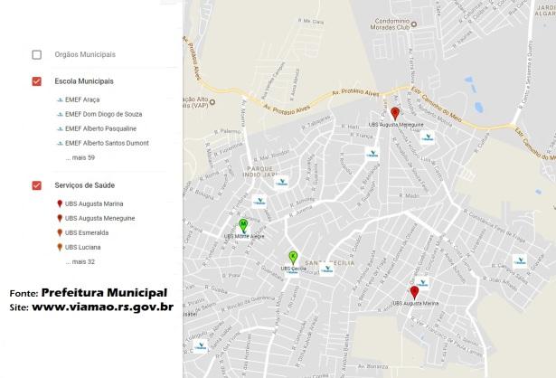 14 de Setembro – Mapa de serviços públicos — Viamão (RS) — 276 Anos em 2017.