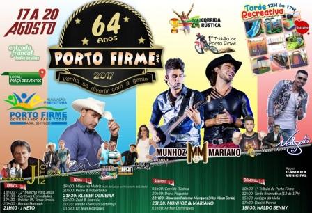 18 de Agosto – Shows no aniversário da cidade — Porto Firme (MG) — 64 Anos em 2017.