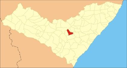 24 de Agosto — Mapa de localização — Taquarana (AL) — 55 Anos em 2017.