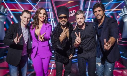 27 de Maio - Ivete Sangalo com seus colegas do programa 'The Voice Kids'.