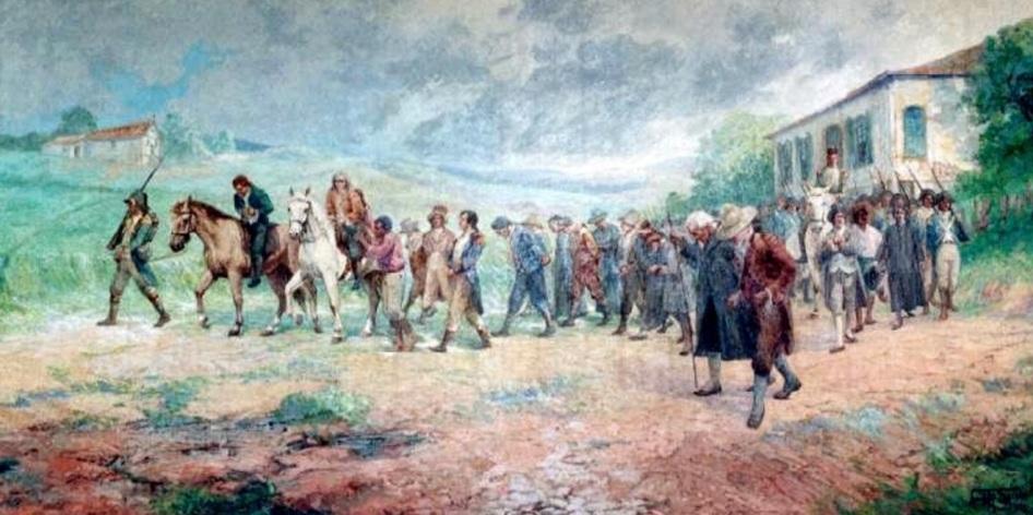 1 de Maio - Jornada dos Mártires, de Antônio Parreiras. Retrata a passagem, em Matias Barbosa, dos inconfidentes presos. 1750 – Francisco Antônio de Oliveira Lopes, Inconfidência
