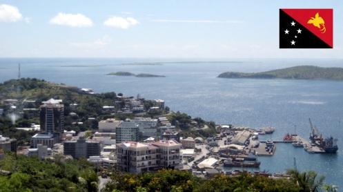 Cidade de Porto Moresby, capital de Papua-Nova Guiné.