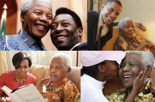18 de Julho - Nelson Mandela - 1918 – 99 Anos em 2017 - Acontecimentos do Dia - Foto 13 - Com Pelé, Barack e Michelle Obama.