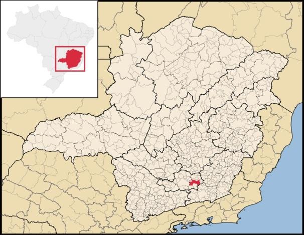 14 de Agosto – Mapa de localização — Barbacena (MG) — 226 Anos em 2017.