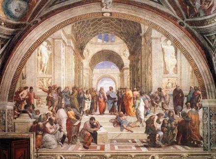 6 de Abril - 1483 — Rafael, pintor e arquiteto italiano (m. 1520) - A Escola de Atenas, 1509, Stanza della Segnatura, Museus Vaticanos.