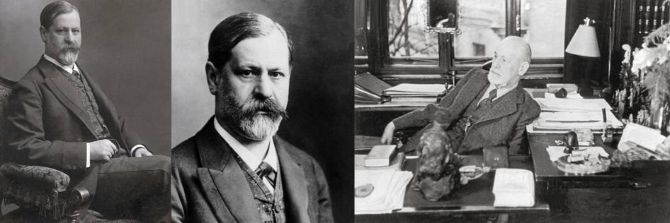 6 de maio - Sigmund Freud - neurologista e fundador da psicanálise - jovem e idoso.