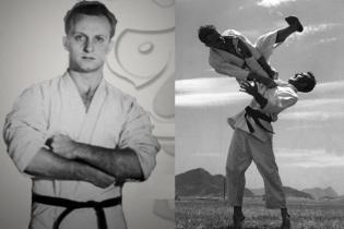 7 de Outubro - 1994 – Carlos Gracie - mestre de jiu-jítsu brasileiro - À direita, com o irmão mais novo, Hélio Gracie.