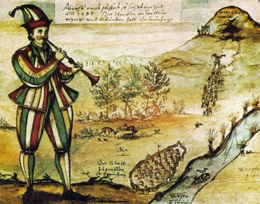 26 de Junho - 1284 - De acordo com a lenda, o Flautista de Hamelin hipnotizou 130 crianças, as levando para fora da cidade de Hamelin.