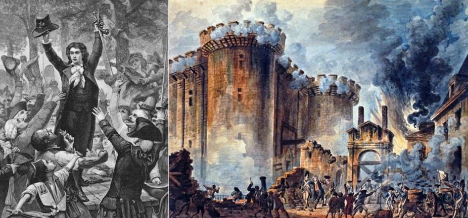 14 de Julho — 1789 — Início da Revolução Francesa - Queda da Bastilha - Parisienses tomam a Bastilha, a prisão do regime monárquico, e libertam sete prisioneiros políticos.