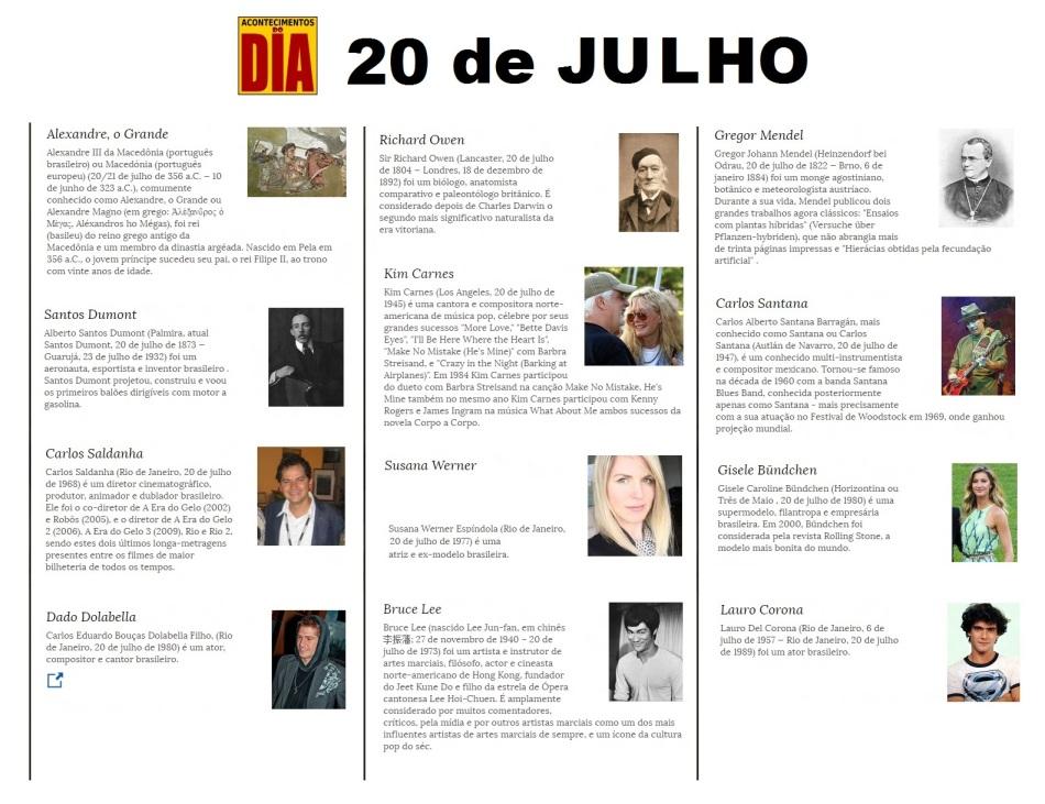 20 de Julho - Acontecimentos do Dia