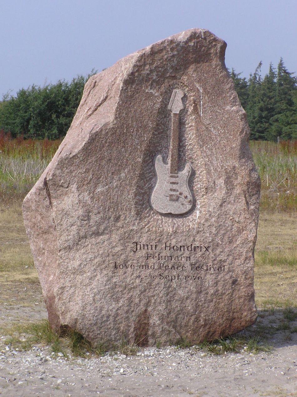 Memorial a Jimi Hendrix, em Fehmarn, Schleswig-Holstein, na Alemanha.