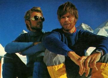 17 de Setembro – Reinhold Messner - 1944 – 73 Anos em 2017 - Acontecimentos do Dia - Foto 11 - Habeler (à esq.) e Messner, no Gasherbrum..