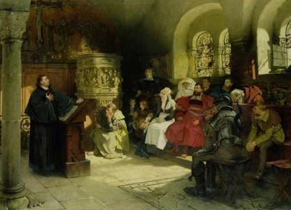 Martinho Lutero pregando no Castelo Wartburg, quadro de Hugo Vogel.
