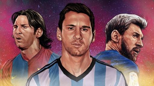 24 de Junho - Messi em fotomontagem desenhada, três épocas de sua carreira.