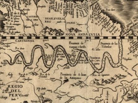 25 de Abril - Itacoatiara (AM) - Mapa de 1562 da região do rio Amazonas.