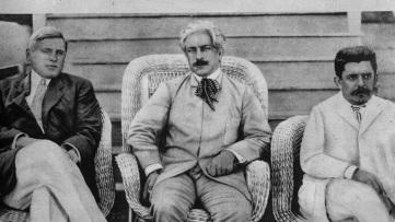 5 de Agosto – Osvaldo Cruz - 1872 – 145 Anos em 2017 - Acontecimentos do Dia - Foto 5 - Carl Lovelace, Oswaldo Cruz e Belisário Penna (esq. para direita), em visita às obras da fer