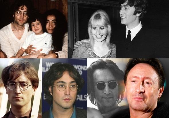 9 de Outubro - John Lennon - 1940 – 77 Anos em 2017 - Acontecimentos do Dia - Foto 11 - John Lennon com o filho Sean, esposa Yoko, a ex-esposa Cynthia e o primeiro filho, Julian.