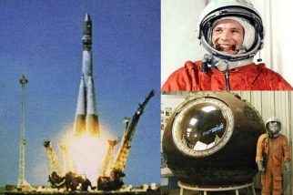 12 de Abril - 1961 — O cosmonauta soviético Iuri Gagarin se torna o primeiro ser humano a viajar para o espaço e realizar o primeiro voo orbital tripulado, Vostok I.