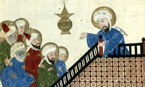 8 de Junho - Profeta Maomé recitando o Alcorão em Meca (gravura do século XV).