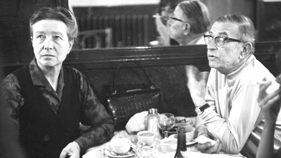 Simone de Beauvoir com o marido e parceiro Jean-Paul Sartre