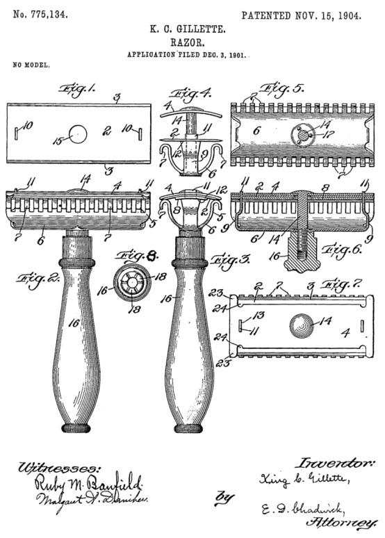 9 de Julho – Lâminas de barbear de King Gillette, empresário e inventor americano.