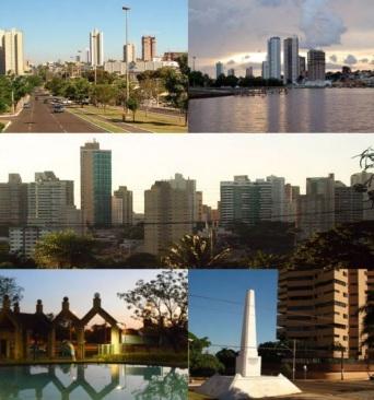 26 de Agosto — Do alto, da esqu. para dir. - Avenida Afonso Pena, Visão geral do centro, Horto Florestal e o Obelisco — Campo Grande (MS) — 118 Anos em 2017.