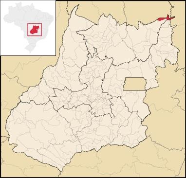 1 de Outubro - Mapa de localização — Campos Belos (GO)— 63 Anos em 2017.