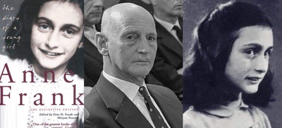 12 de Junho - 1929 – Anne Frank, escritora alemã e vítima judia dos nazistas - Fotomontagem com seu pai, Otto Frank.