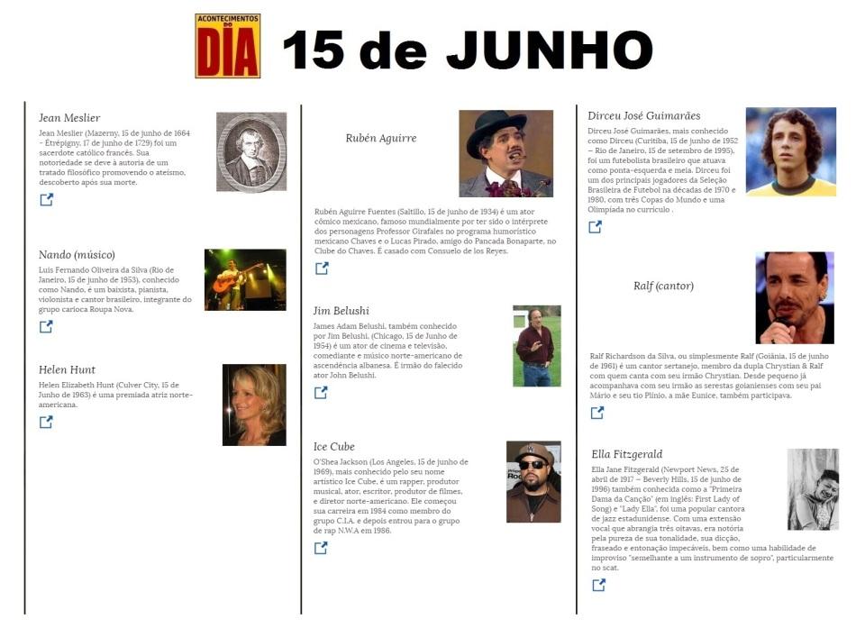 15 de junho - Acontecimentos do Dia