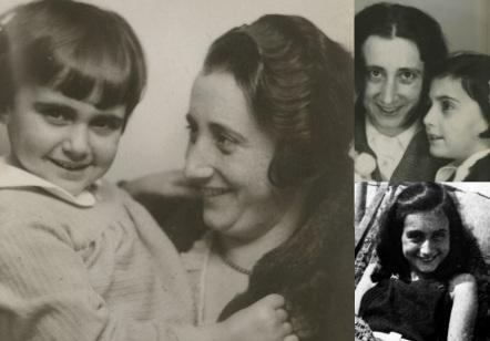 12 de Junho - 1929 – Anne Frank, escritora alemã e vítima judia dos nazistas - Fotomontagem com sua mãe.