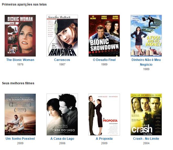 Veja a filmografia completa de Sandra Bullock ono Adoro Cinema.