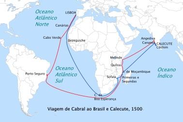 22 de Abril - 1500 – Rota seguida por Cabral para a Índia em 1500 (em vermelho) e a rota de retorno (em azul).
